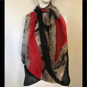 """Vince Camuto Large Scarf Red /Animal Print 46x42"""""""